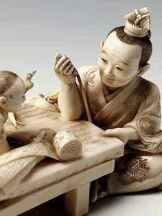 2006.91: (DUROM. 2006.91: Carving in Ivory of a Weaver and his Family, Japan, 1913 CE.