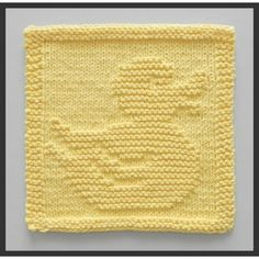 Knitting pattern for Rubber Ducky Wash Cloth or Afghan Block – Perfect for baby … Knitting pattern for Rubber Ducky Wash Cloth or Afghan Block – Perfect for baby showers! Finished dimensions will be approx. Knitted Washcloth Patterns, Knitted Washcloths, Dishcloth Knitting Patterns, Crochet Dishcloths, Knitting Stitches, Crochet Patterns, Stitch Patterns, Knitting Squares, Baby Washcloth