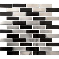 3/4 x 2 1/2 Machined Black & Silver Stainless Steel Brick Mosaic Tile