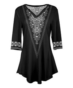 Lily Black & White Arabesque V-Neck Tunic - Women & Plus | Best Price and Reviews | Zulily Tunic Designs, Comfy Casual, Arabesque, Quarter Sleeve, Tunic Tops, V Neck, Black And White, Blouse, Sleeves