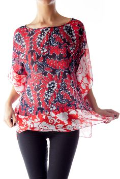 1bb626e80aff6 Turn heads at the office red floral bat sleeve shirt by Michael Kors