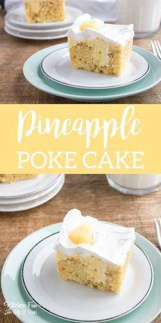 Delicious Pineapple Poke Cake recipe. #yum #food #foodblogger #pineapple #pokecake #cake