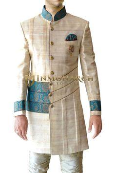 Mens Beige 4 Pc Indo Western Royal Look Indian Men Fashion, Mens Fashion Wear, African Fashion, Mens Shalwar Kameez, Kurta Men, Sherwani Groom, Mens Sherwani, Designer Suits For Men, Designer Clothes For Men