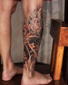 Traditional Japanese Tattoo Sleeve, Japanese Leg Tattoo, Japanese Sleeve Tattoos, Koi Tattoo Sleeve, Leg Tattoo Men, Forearm Tattoos, Koi Tattoo Design, Half Sleeve Tattoos For Guys, Tattoo Templates