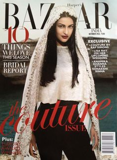 Sonakshi Sinha on the cover of Harper's Bazaar India October wearing Anamika Khanna Couture V Magazine, Magazine Covers, Magazine Design, Red Haired Actresses, Indian Actresses, Bollywood Celebrities, Bollywood Fashion, Bollywood Saree, Bollywood Actress