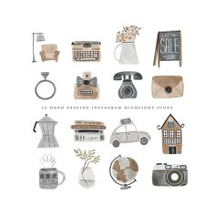 boho vintage clipart watercolor hand painted neutral brown business travel home house camera typewriter antique shop clip art Feeds Instagram, Instagram Story, Cupcake Logo, Photo Editing Apps, Vintage Clipart, Shopping Clipart, Boho Vintage, Vintage Instagram, Bullet Journal Inspiration