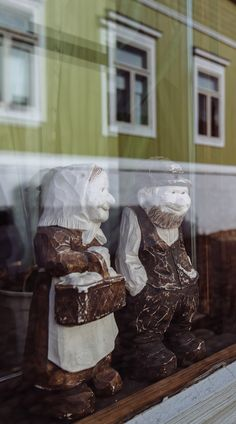 In Scandinavia, people like putting cute things into windows of their old wooden houses. Porvoo, Finland.