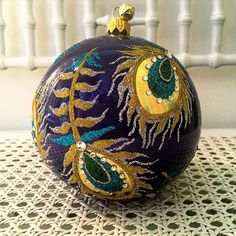 Pavo - peacock patterned ball designed by @melissambyrne for @jinglenog  http://jinglenog.com/pavo-peacock-feather-european-glass-christmas-ornament-ball