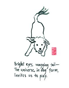 Playful Zen dog print - 8x10 print of haiku and ink painting - Bright eyes, wagging tail - for dog lovers on Etsy, $28.35 AUD