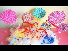 Manualidades fáciles para fiestas! Piruletas con goma eva - Mery - - YouTube