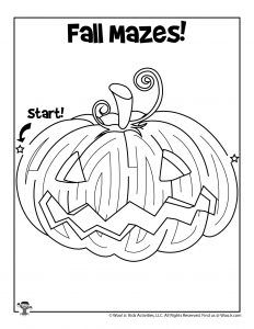 Printable Fall Mazes for Kids | Woo! Jr. Kids Activities : Children's Publishing Printable Puzzles For Kids, Mazes For Kids, Pumpkin Printable, Color Puzzle, Brain Teasers, Fall Pumpkins, Pumpkin Carving, Jr, Activities For Kids