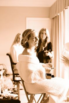 972d62e7e9 getting ready in a white fluffy bathrobe Cute Wedding Dress