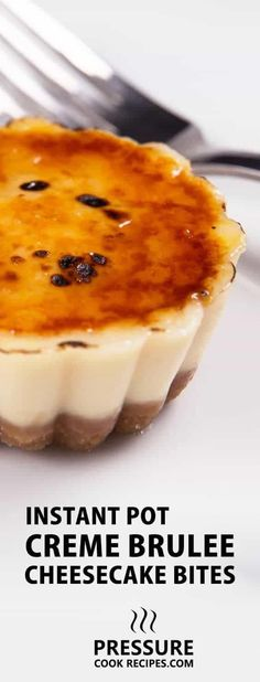 Instant Pot Cheesecake Creme Brulee Bites Recipe: Make these crowd-pleasing pressure cooker cheesecake bites. A luxuriously rich dense cheesecake, matched with crisp buttery crust and crackable sweet caramel. via Amy Jacky Creme Brulee Cheesecake, Cheesecake Bites, Cheesecake Recipes, Dessert Recipes, Instapot Cheesecake, Pie Recipes, Chicken Recipes, Pressure Cooker Cheesecake, Pressure Cooker Desserts