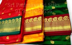 Gauri Collection - Kancheepuram handloom pure silk 9yards sarees in bright combinations with gold zari butta for the Maharashtrian wedding look. Book now 91 9821054556 Sri Padmavathi Silks, the only South Indian store in Dombivli, India. Kancheepuram handloom pure silk sarees in Mumbai. International shipping available. Wholesale orders accepted.  Website: www.sripadmavathisilks.com #kanjivaram #wedding #maharashtrianlook #9yards #beautiful #fashion #love #sareelove #kancheepuram #canada…
