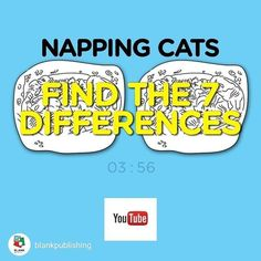 repost from @blankpublishing Find the 7 #Differences #challenge on #YouTube. #puzzle #kids #cats #felines #illustration #relaxing https://youtu.be/Ar49dK03cpc