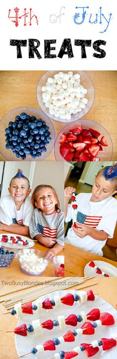 Fruit Kabobs - 4th of July TREATS!! Kid friendly! Strawberries, bananas or mini marshmallows and blueberries