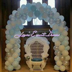 Light blue silver and white balloon arch