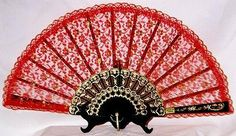 Image detail for -Red lace fan with gold accents and gold decorated black base ...