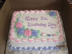 buttercream borders on sheet cakes | Dbl Layer 1/4 Sheet Cake 1/2 Yellow, 1/2 Chocolate, with buttercream ...