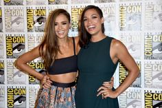 Jessica Alba and Rosario Dawson attend 'Frank Miller's Sin City: A Dame To Kill For' Press Line during Comic-Con International 2014 at Hilton Bayfront on July 26, 2014 in San Diego, California.