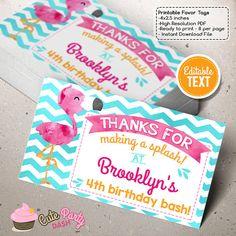 INSTANT DOWNLOAD  EDITABLE Flamingo Birthday by CutePartyDash
