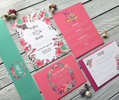 Vibrant Blooms wedding invitation - www.lilyandjacksstudio.com