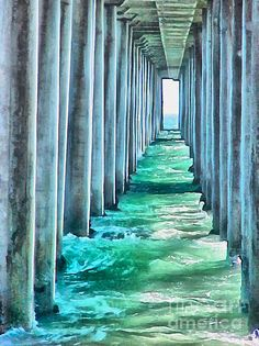 "Under the Pier - Watercolor Painting - WickedRefined - blue; California; ""Demereckis, N.D., Wickedrefined, Wicked Refined""; digital art; green; Impressionism; Landscape; No People; ocean; ""ocean, sea, oceans, seas""; painting; pier; ""pillar; pillars; column; columns""; ""United States, America, USA, unitedstates""; ""watercolor; water color""; wave, canvas prints, prints, metal prints, acrylic prints, framed prints,"