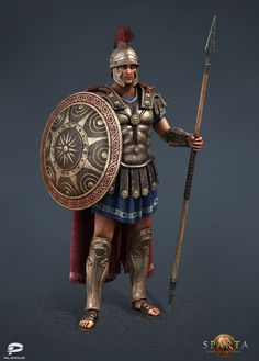 """Old work for """"Sparta:War of Empires"""" social game by Plarium. Greek Shield, Character Inspiration, Character Design, Greek Soldier, Narnia 3, Ancient Armor, Roman Warriors, Greek Warrior, Shield Design"""