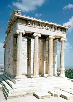 """Temple of Athena Nike - Athens, Greece Begun in 427 BC, the Temple of Athena Nike (""""Victorious Athena"""") in Athens was the first Ionic structure to be built on the Acropolis."""