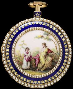 Enamelled Gold Watch Set With Pearls Made By Julien  Le Roy, Watchmaker - Switzerland    c.1800