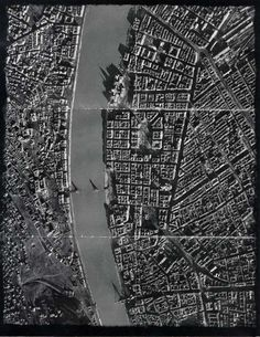 Aerial photo of Budapest after seige in WWII. Note bombed out bridges and heavy damage on Pest embankment from shelling from Gellért hill. Peaceful Life, Family Events, Modern History, City Maps, Budapest Hungary, Old City, War Machine, Military History, World War Two