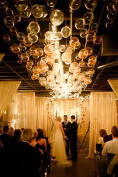 This DIY bubble chandelier makes gorgeous ceremony decor!