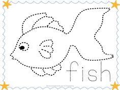 Balık hem boyama hem çizgi çalışması sayfası - Okul Öncesi Etkinlik Faliyetleri - Madamteacher.com