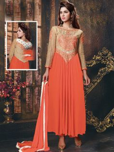 Mesmerize the world around you. Let your goodness and innocence gets revealed. Wear this orange faux georgette anarkali semi stitched kameez designed with zari, thread, and embroidery work - See more at: http://www.akalors.in/Salwar-Kameez/Orange-Semi-Stitched-Anarkali-Churidar-Kameez-id-1802741.html