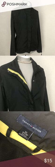 "Classic Tommy Hilfiger Casual Women's Raincoat Good used condition. Size XS. PETITE  Awesome coat for running! Mesh inner lining Adjustable drawstring sleeves and adjustable drawstring waist Zipper side pockets and front zipper pocket Coat Zipper has snap closures No hood. 100% polyester  Length 23"" Sleeve length 21"" Bust 16"" Tommy Hilfiger Jackets & Coats Utility Jackets #RaincoatsForWomenCasual"