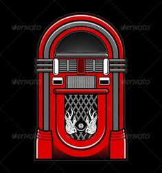 Classic Jukebox Vector — Vector EPS #tattoo #vector • Available here → https://graphicriver.net/item/classic-jukebox-vector/5393387?ref=pxcr