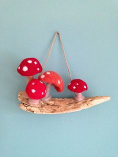Toadstools on driftwood, needle-felted hanging decoration. Cute and quirky home decor. Elves And Fairies, Quirky Home Decor, Sea Glass Art, Love To Shop, Driftwood, Needle Felting, My Etsy Shop, Delicate, Christmas Ornaments