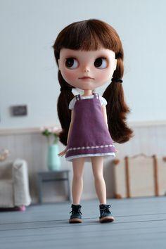 Apron dress set for Blythe - purplish