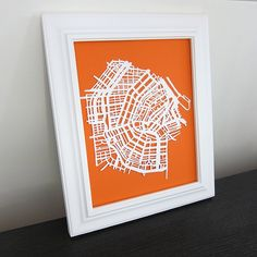 Cut-paper map of a city