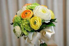 Ranunculus Silk Bridal Bouquet - Orange White Yellow Ranunculus Green Hydrangea Real Touch Wedding Bouquet Groom's Boutonnière. $115.00, via Etsy.