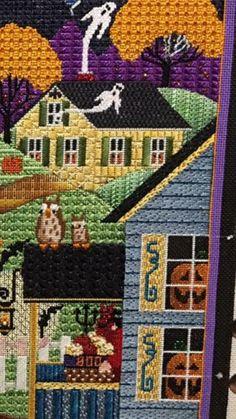 haunted house needlepoint, designer unknown