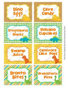 Printable Dinosaur Birthday Party Food Idea!
