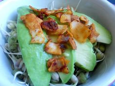 A crunchy, tasty salad topper, sandwich filling, sprinkle. Coconut Bacon, Sandwich Fillings, Easy Salads, Sprouts, Avocado, Sandwiches, Vegetarian, Tasty, Meals