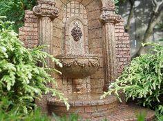 Aged Miniature Garden Lion Wall Fountain