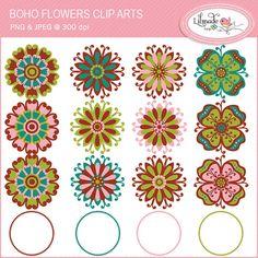 Boho flowers clip art, flower clip art, hippie flowers clip art.