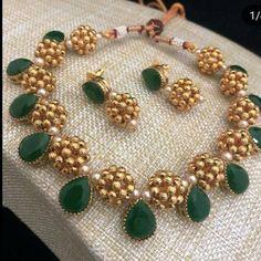 Elegant Necklace Set From Bead Chicz ~ South India Jewels Gold Jewellery Design, Bead Jewellery, Crystal Jewelry, Pendant Jewelry, Silver Jewelry, Jewellery Shops, Accessories Jewellery, Punk Jewelry, Jade Jewelry
