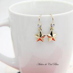 14K Gold Plated Blue Topaz Star Earrings by AtelierdeCielBleu