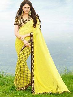 Tanjore Yellow Printed Georgette Saree #Saree #Yellow