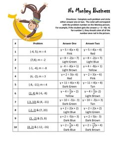 Printables Point Slope Form Worksheet writing equations in point slope form coloring worksheet this product is a activity that allows the student to practice with form