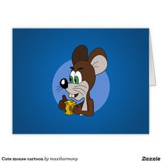 Cute mouse cartoon large greeting card
